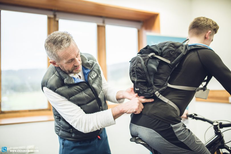 Backpack position is a big factor in managing back pain.