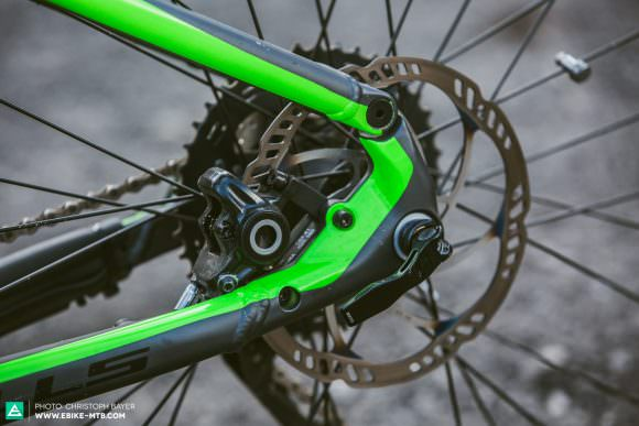 Short-sighted The brake mount might be visually well dialed into the frame, but unfortunately its position on the chainstay means there's no space for a four-pot brake caliper. Given their reliance on powerful brakes, this is a major no-go for E-MTBs.