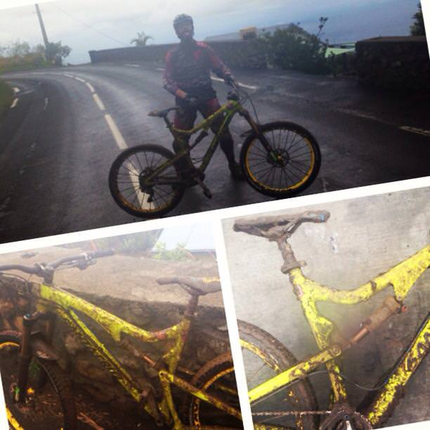 Rain and muddy conditions at La Reunion.