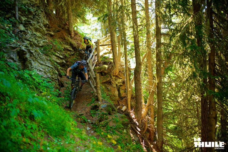 Manuel Ducci and Valentina Macheda enjoy the downhill section in the woods