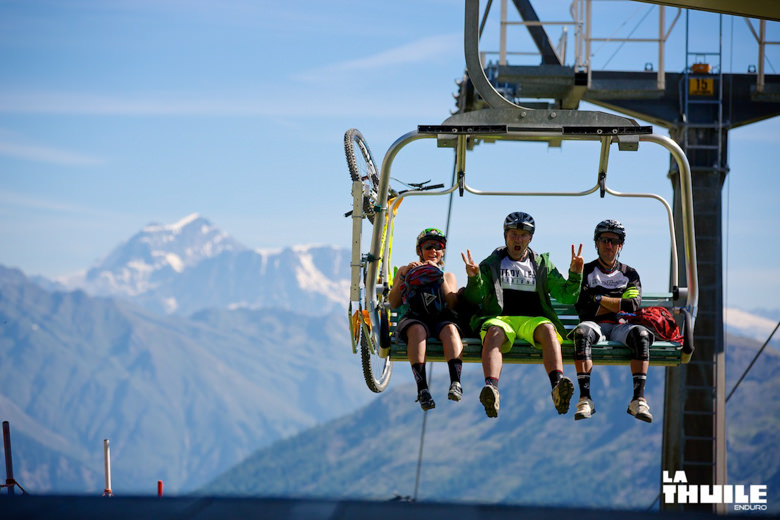 Anka Martin, Sven Martin and Jon Cancellier reaching the peak with the chairlift