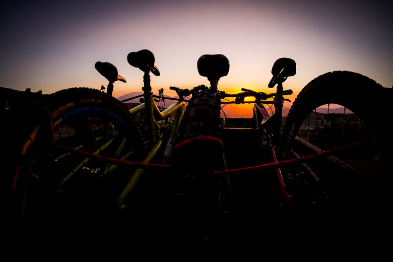 Race bikes in the cold Andean night