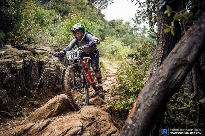 Anke Martin charging though the rocks!  Is there  a place for womens specific bikes at the highest level?
