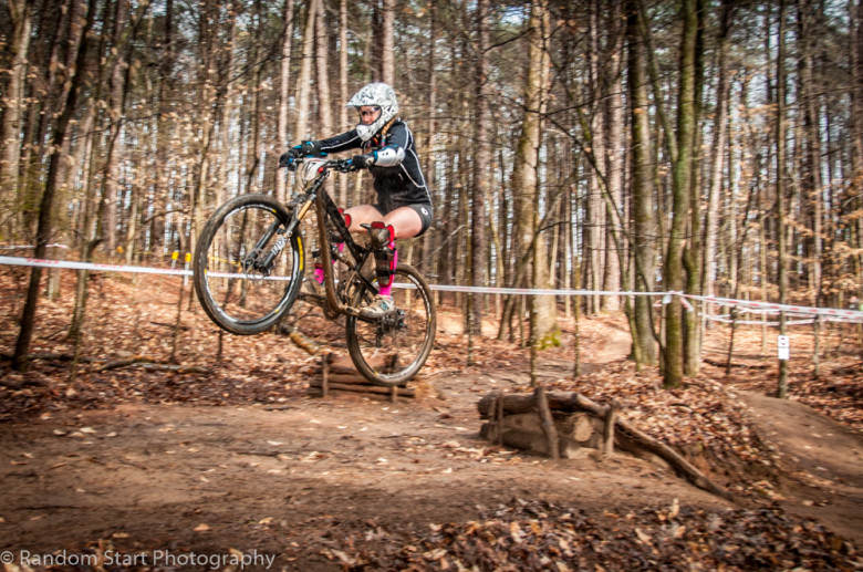 #Ladies. Erika Lick (Team Dirty Girl) sends it off the booter on Stage 4. She worked her way to second place in Women's Open with a giant smile.