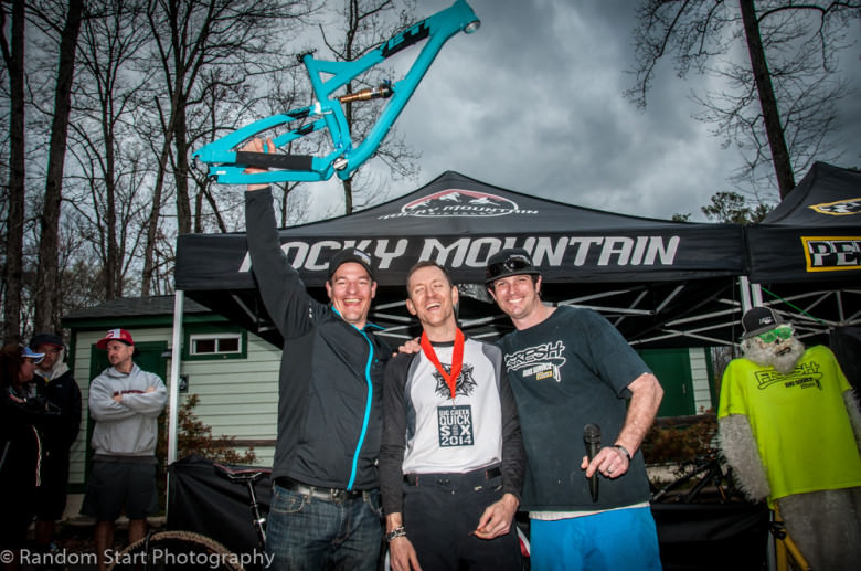 #Stoked. Nino Califano doubled up by winning the Yeti SB95 frameset courtesy of Shawn Brunner from Fresh Bike Service (right) and Ross Milan of Yeti Cycles (left), and second place in Master's Men.