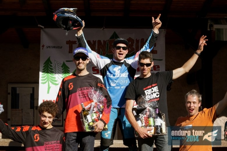The Male podium: Remy Absalon, Nico Lau, and Fran‡ois Bailly Maitre.