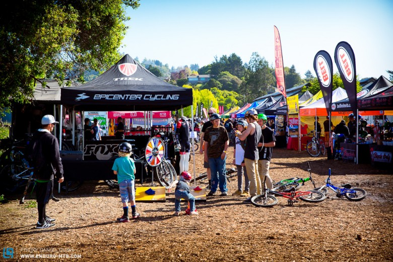 Families of all ages come to the Santa Cruz Mt. Bike Festival to look at all sorts of new gear. And of course play corn hole.