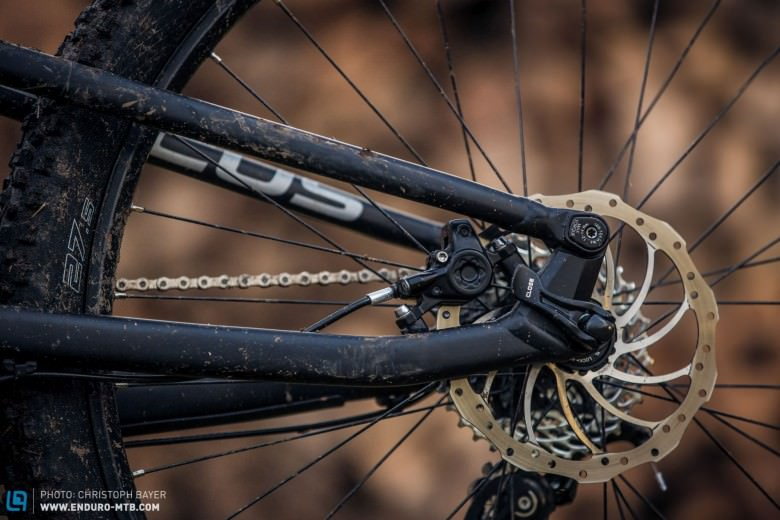 The rear brake is sweetly integrated into the rear triangle; unfortunately the Magura MT2 is a little short on power.