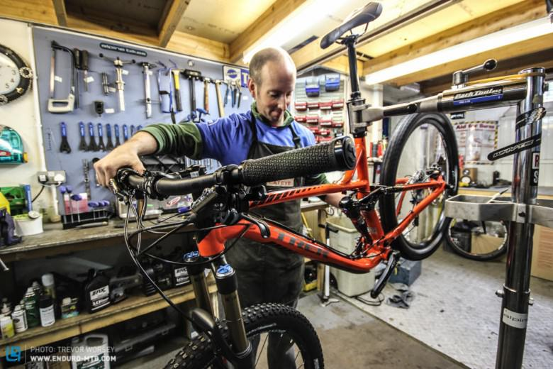 Innerleithen and Glentress have well equipped stores and  workshops.   Alpine Bikes mechanic Nic is well used to dealing with racers bikes!