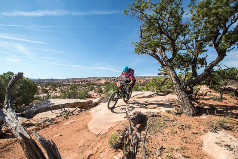 The scenery is wide open and very Wild West. Efficient, long travel bikes make easy work of this rugged terrain.
