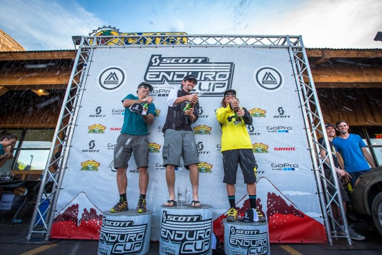 Men's Pro Podium having some fun with Sierra Nevada beers. 1. Ross Schnell 2. Mike West 3. Alex Petitdemange