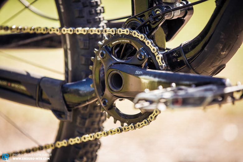 The 32 teeth chainring is suitable for most of the occasions.