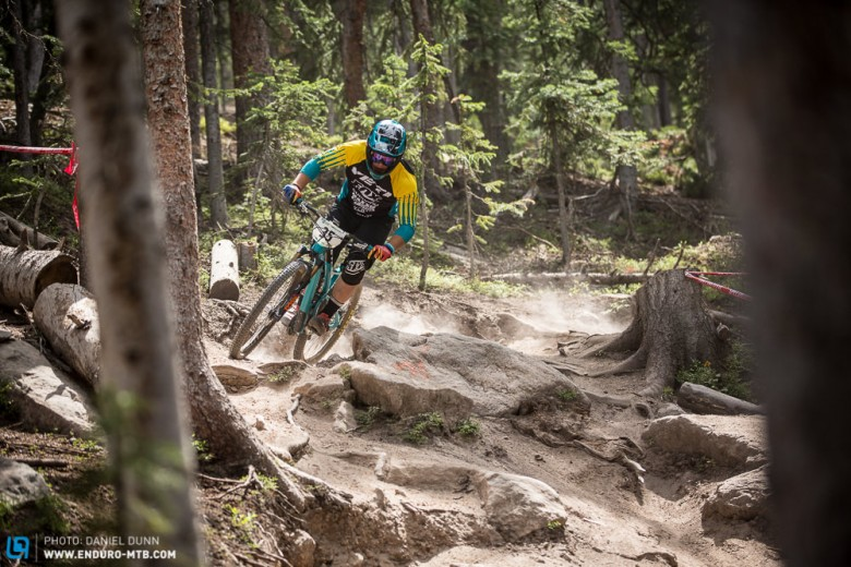 Richie Rude had his first EWS stage wins (three this weekend) including the final Stage 7 on Trestle DH, and his first EWS podium here in Colorado.