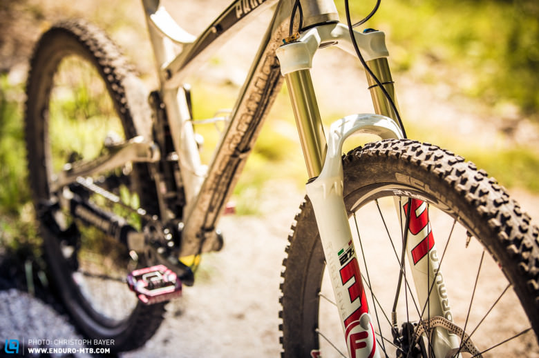 A Formula 35 fork with 150mm travel is being used at the front.