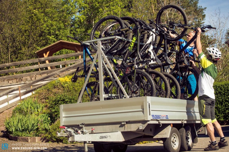 A trailer like this is crucial when testing 7 bikes!