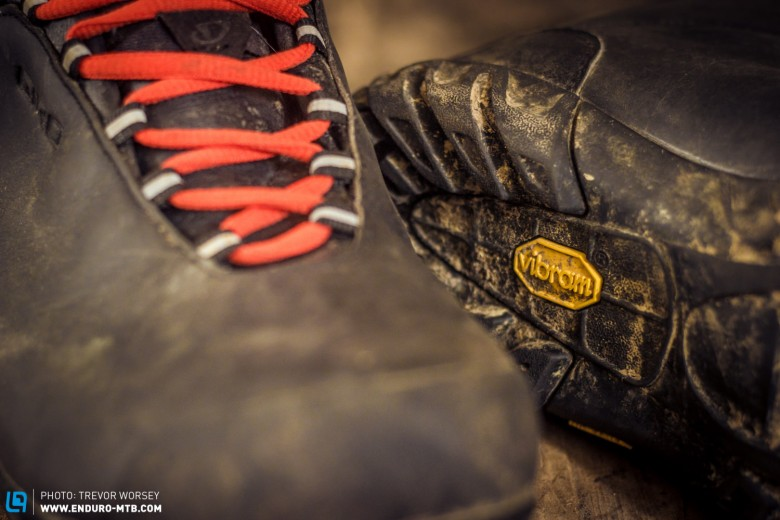 The legendary yellow logo indicates a VIBRAM Icetrek sole provides well proven grip for hiking