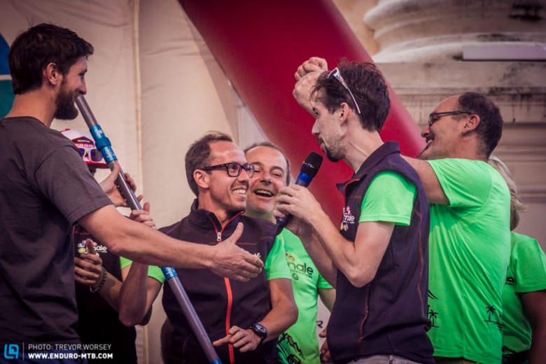 The Finale Ligure trail building team were delighted to be recognised on the stage