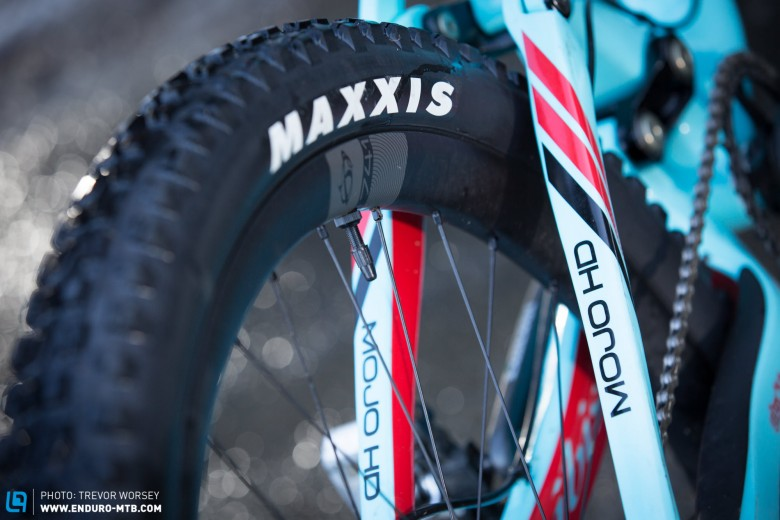 Gary will be racing on the new Ibis 741 rims, with a 35mm internal width.  He is currently testing tyres for Maxxis and Schwalbe