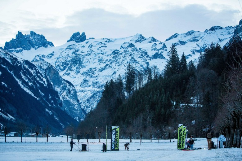 Crew members get the start line ready for the inaugural Snow Epic, held in Engelberg, Switzerland on Thursday, 15 January 2015. © SNOW EPIC/Nick Muzik