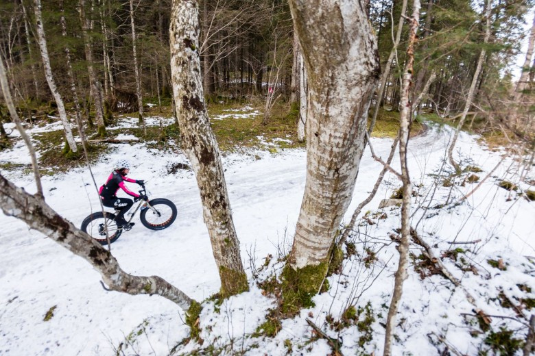 Stage 1, female rider in the beautiful forest. © SNOW EPIC/Marc Gasch