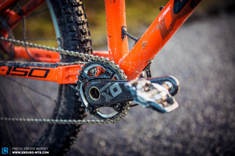 There is no provision for a 2x drivetrain, which we approve of, the G-150 is built to race, and that means 1x11