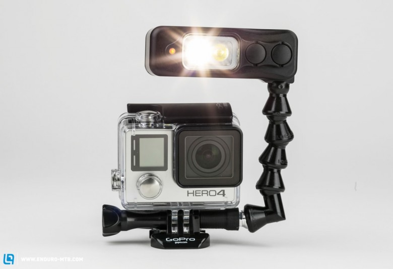 With an optional adapter, the Sidekick can be mounted above the GoPro too