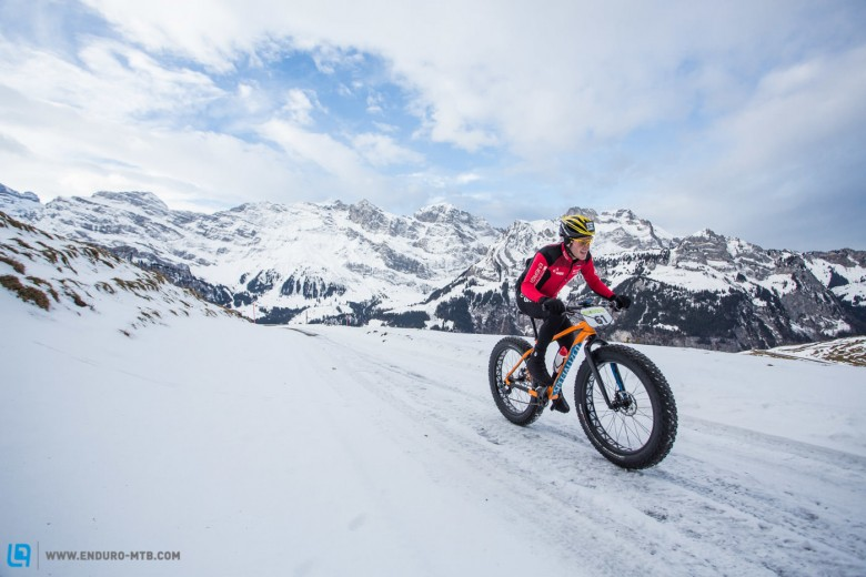 Ibon Zugasti of Spain leads the race during stage 2 and 3 of the first Snow Epic, the ascent and decent of Brunni Hütte near Engelberg, Foto: Snow Epic / Nick Muzik