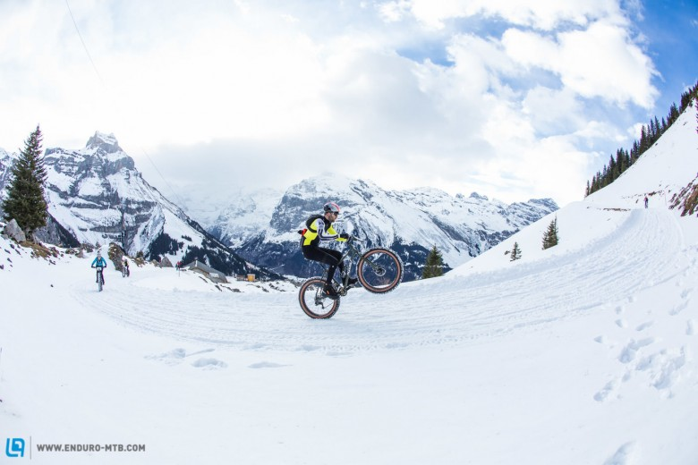 A rider enjoys his ride to the top during stage 2 and 3 of the first Snow Epic, the ascent and decent of Brunni Hütte near Engelberg, Foto: Snow Epic / Nick Muzik