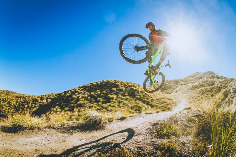 Wade Kenchington blasts off over the spectacular, dry NZ trails