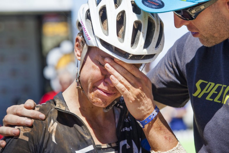 Ariane Kleinhans breaks down in tears as Bobby Behan tells her that they may have made up the time they lost in the stage 2 penalty.