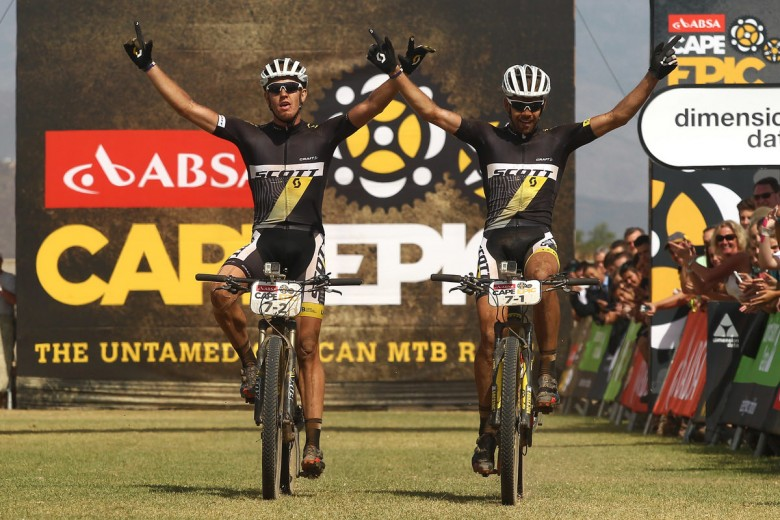 Matthys Beukes and Philip Buys (Scott Factory Racing) celebrate winning the 111 km fourth stage of the Absa Cape Epic 2015.