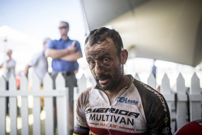 Jose Hermida after a tough day in the saddle.