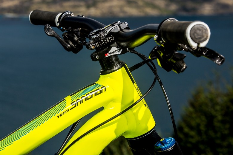 Everything about this bike screams downhill performance, from the stubby and wide cockpit, to the brutally powerful Saint brakes.