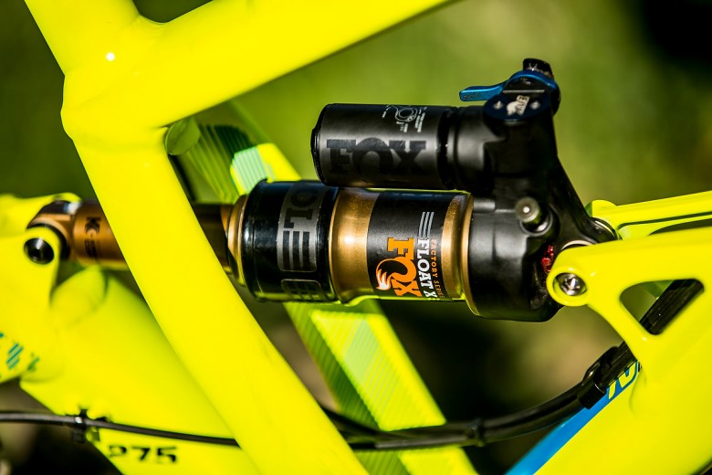 The prototype FOX RAD shock features a bulge in the air can to fine tune it's characteristics.