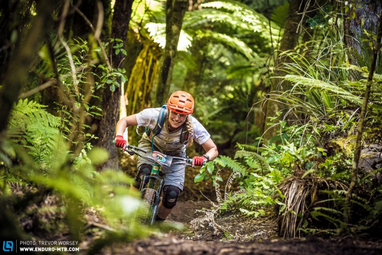 Whistler downhiller Sarah Leishman looked very at home on the enduro terrain