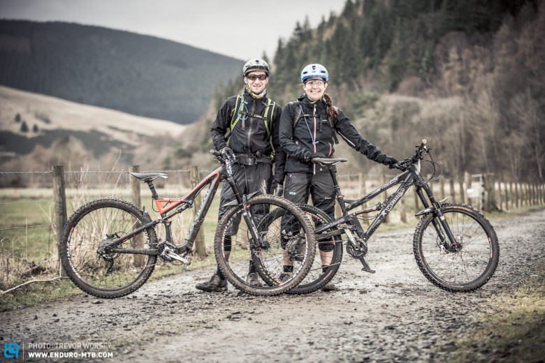 Helena and Andrew Perry were dressed for the weather on their Ornage Alpine and Stumpjumper
