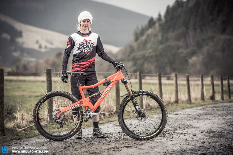 Eilidh Wells riding for the Cruel Gravity Team, was looking focussed on her orange Orange
