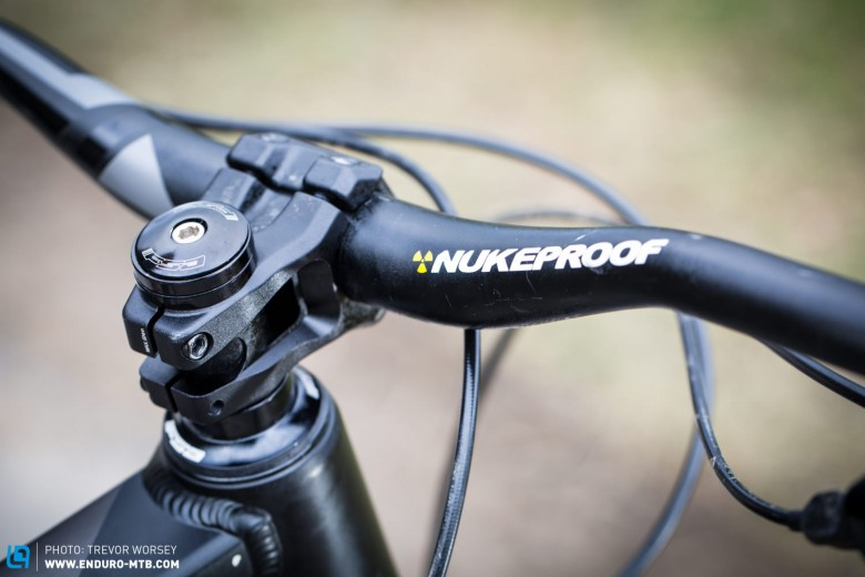 The Nukeproof finishing kit is all robust and good quality. Weight could be saved here, but not much