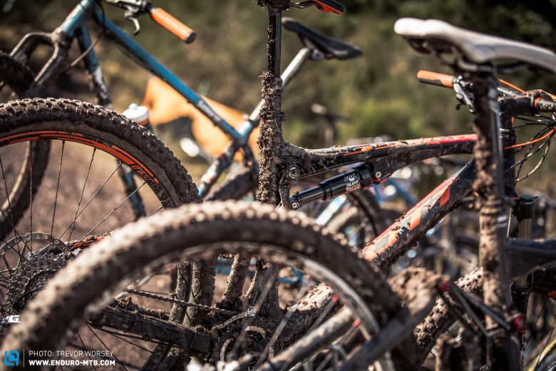 The mud started to rack up on the bikes