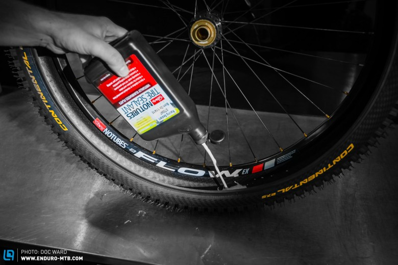 Add manufacturers amount of tubeless solution, holding the bottle fully upside down after a good shake