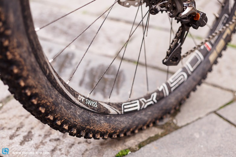 André always uses a tubeless set-up on his DT Swiss wheels.