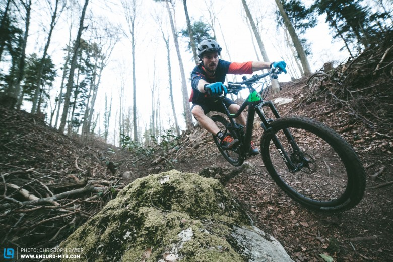 Robin riding the fun but quite technical trails near the Swiss city of Biel in early March.