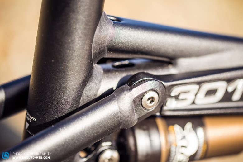 The suspension runs on eight double sealed stainless bearings with sealed needle bearings in the top tube and shock eyelets