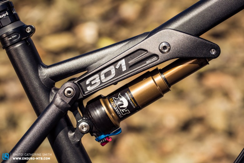 The signature 4 bar linkage with the shock mounted on the front.