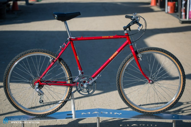 The 1986 Madrone Trail is a classic example of the early mountain bike with its rigid fork and one piece bar/stem.