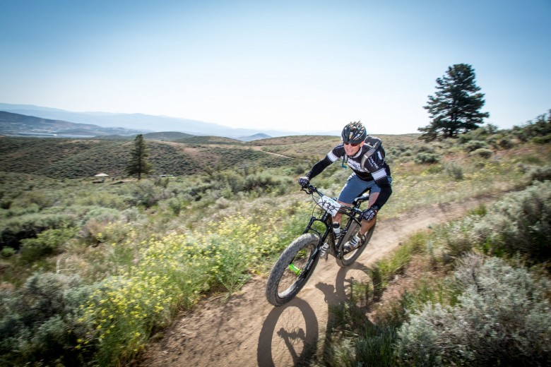 Fat bikes at an enduro race? Mike Galeoto pilots his rig to 10th place in the Expert 40-49 field.