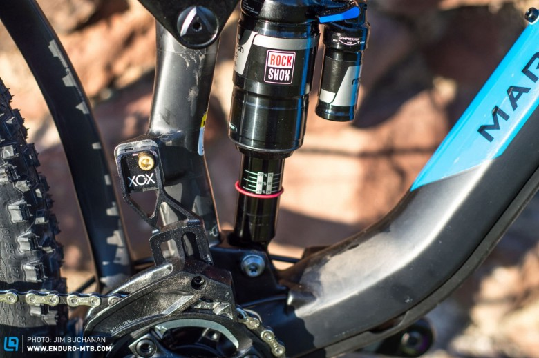 The ever-reliable Rockshox Monarch Plus, I can't see that Ethirteen guide lasting long though!