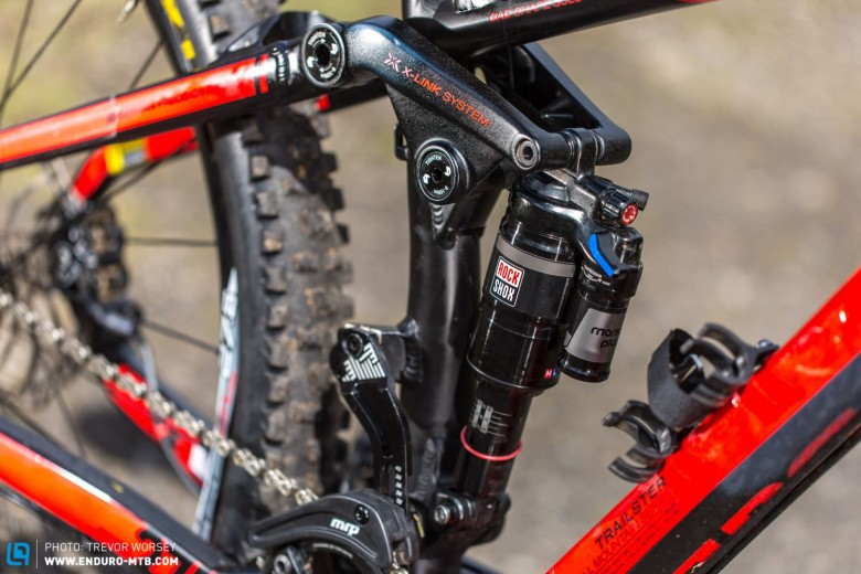 The Rockshox Monarch Plus RCT3 works well for Katy, even though she is a lot lighter than the average rider