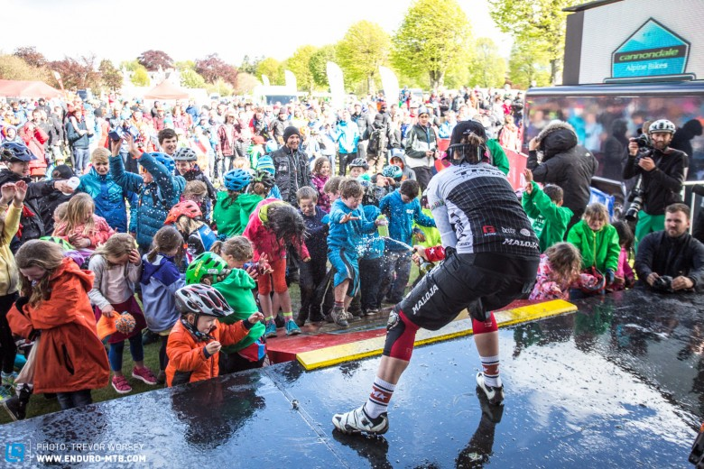 The tradition of dousing young kids in champagne continues