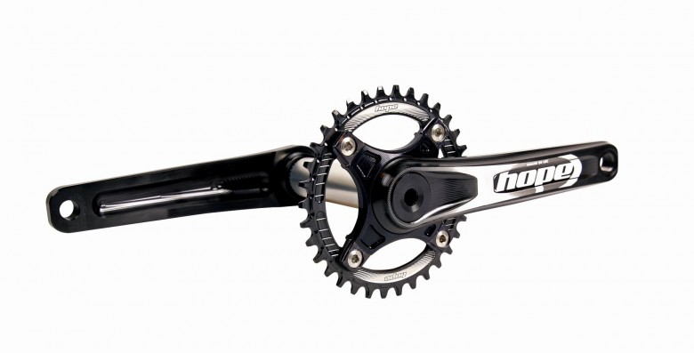 If you ride hard, or have legs like mighty pistons, you are going to need some burly cranks. Beautifully machined from 7000 series alloy, the Hope Cranks are as tough as they come and offer a unique expanding spline axle/arm interface to ensure a perfect fit every time. Weighing in at 641g for the spiderless version, and available in lots of configurations, they are the perfect choice for those who like smash the power down.